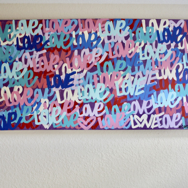 LOVE 97″ x 41″ Love original free shipping street art contemporary art modern canvas colorful painting by Chris Riggs