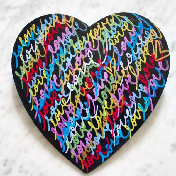 Love 9 inches X 8,5 heart sculpture painting graffiti contemporary fine art modern street art heart tag wood acrylic