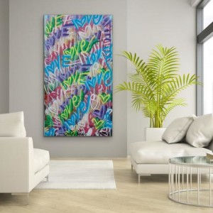 Original 72 x 40 inches love art word art modern contemporary signed painting free shipping Chris Riggs