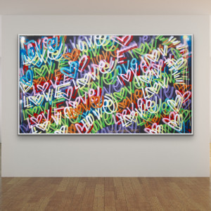 Original 55 x 98 inches love art word art modern contemporary signed painting free shipping Chris Riggs