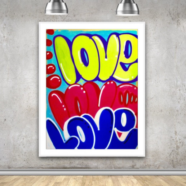 Large Love 72″ x 57′ graffiti signed street art spray paint modern contemporary pop art NYC style graffiti canvas colorful art