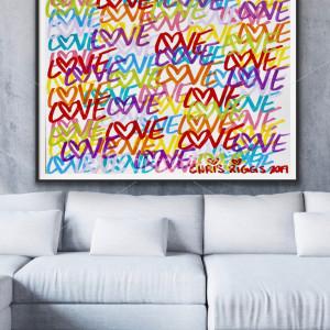 48 x 36 inches Love street art graffiti painting contemporary modern pop art spray paint design original Chris Riggs