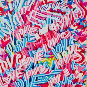 48 x 48 inches Love Flowers street art graffiti painting contemporary modern pop art spray paint design original Chris Riggs