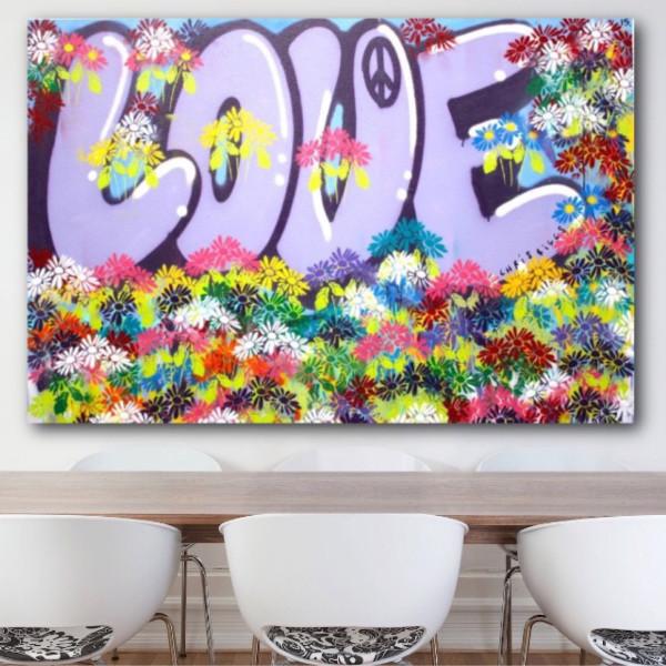 Original 60″ x 40″ Love Flowers NYC art modern contemporary street art fine art peace acrylic spray paint large size colorful